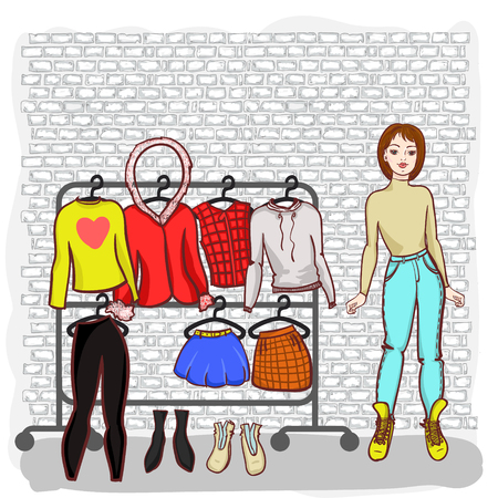 girl with a set of clothes drawn by hand sprin summer season Ilustrace