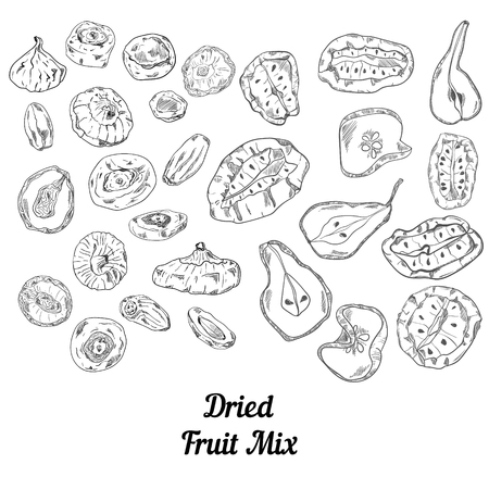 Set of dried fruit black and white sketch