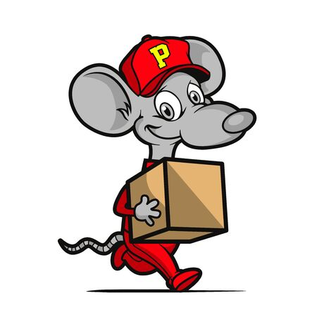 a courier mouse bring a box of package 矢量图像