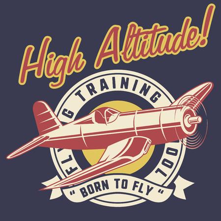 high altitude classic airplane 矢量图像