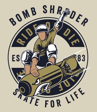 the skate bomb man 矢量图像