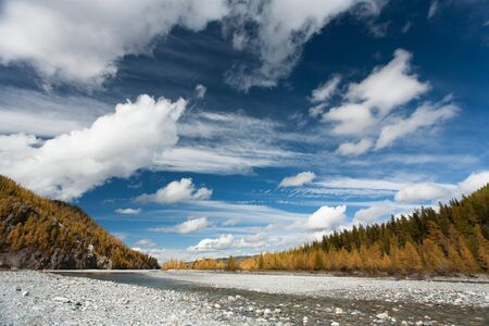 River of pine forest and blue sky Russia photo