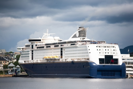 Luxury Cruise Ship Anchored in the Norway Oslo photo
