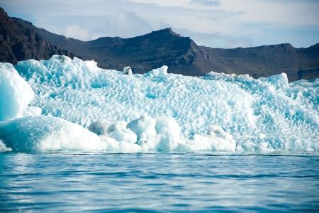 icecaps: glacier in the mountains on the lake jokulsarlon lagoonb Iceland Stock Photo