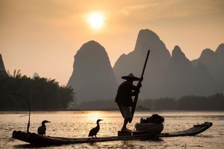鳥と鵜船、中国の伝統的な釣り魚、陽朔、中国に訓練を受けた鵜を使用