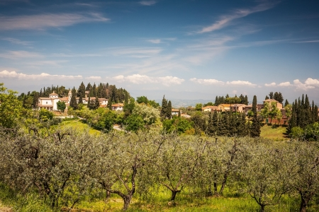 Tuscany landscape with house and cypress tree on hill photo