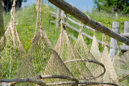 enmesh: fishing traps using by country people Stock Photo