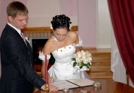 hypothec: photo of making a marriage contract procedure, good use for hypothec etc illustrations Stock Photo