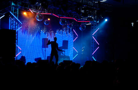 electronica: Scene in blue lights