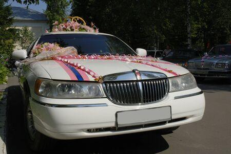 白い結婚式のリムジン 写真素材