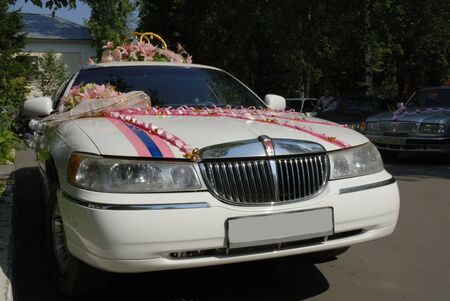 white wedding limousine Stock Photo