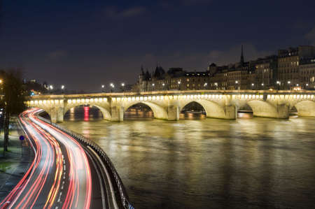 paris at night: Seine river and old bridge in Paris Stock Photo