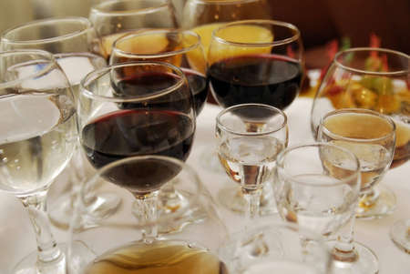 solemnize: close up of few wineglasses with alcohol Stock Photo