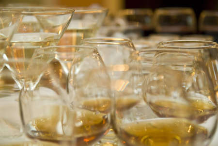 solemnize: close up of wineglasses with  brandy Stock Photo