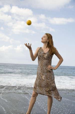 careless: careless young woman with orange