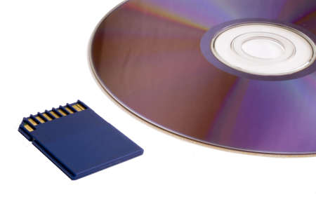 sd: SD card and DVD isolated on white