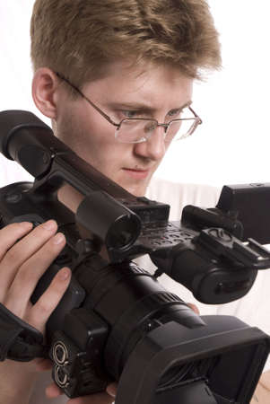 young video operator with HDV camcorder photo