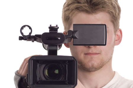 白で隔離されるビデオ ・ ビデオカメラをもつ 10 代。黒の液晶部分にあなたの情報を書くことができます。 写真素材