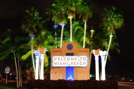 welcome signboard in Miami beach Stock Photo