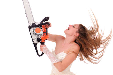 jealous woman with saw isolated on white