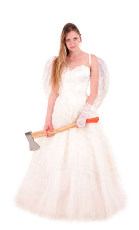 exasperate: bride with ax isolated on white