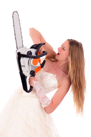 exasperate: bride with saw isolated on white Stock Photo