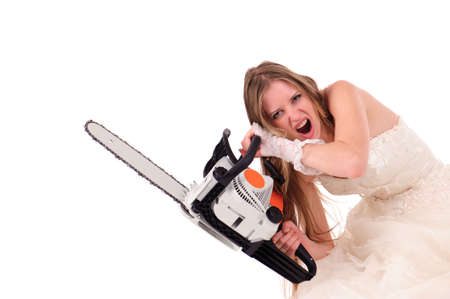 bride with saw isolated on white photo