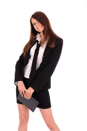 smiling stylish businesswoman in black suit with small laptop isolated on white photo