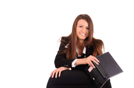 beautiful smiling businesswoman with laptop isolated on white photo