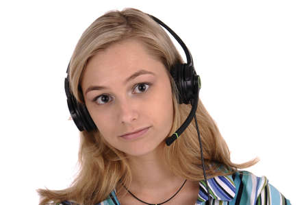 Young blonde woman with earphones and microphone isolated on white photo