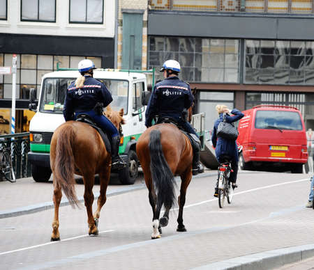 horse policein Amsterdam Stock Photo