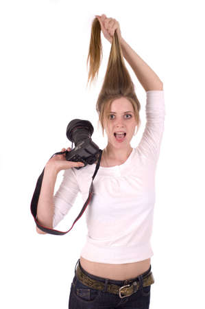 Surprised woman with photocamera photo