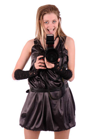 maniacal: sexy mad photographer in black dress isolated on white