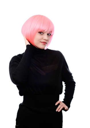 periwig: woman in black dress with pink hairs isolated on white