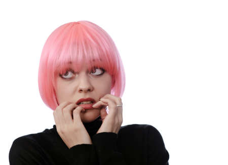 periwig: afraid woman with pink hairs isolated on white