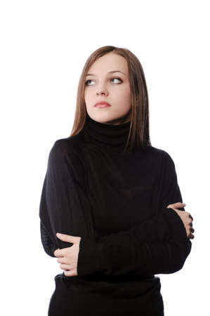 young woman in black turtleneck sweater isolated on white photo