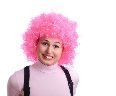 periwig: smiling girl with pink hair isolated on white Stock Photo