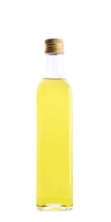 closed bottle of olive oil isolated over white  photo