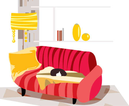 living room design: vector image of living room