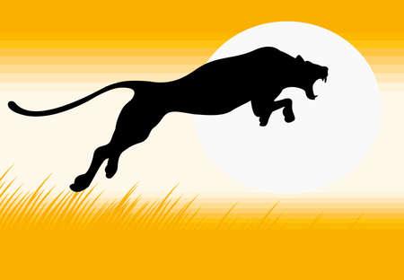 黒豹の跳躍のシルエットのベクター画像  イラスト・ベクター素材