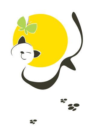 vertebrate: vector image of unconcerned lucky cat Illustration