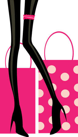 vector image of pink shopping bugs and legs Vector