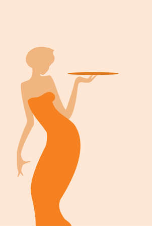 vector image of waitress silhouette  isolated on beige Vector