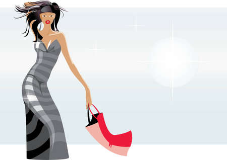 vector image of slender woman with bag after shopping Vector