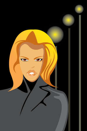 womna: vector image of pretty blonde womna Illustration