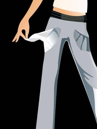 empty pocket: imagen vectorial de jeags con el bolsillo vac�o aislado en negro