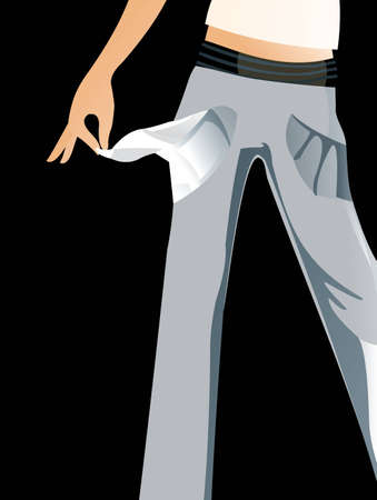 empty pocket: vector image of jeags with empty pocket isolated on black Illustration