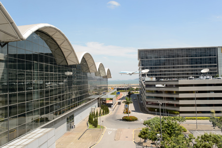 HONG KONG - JUNE 04, 2015: Hong Kong International Airport building. Hong Kong International Airport is the main airport in Hong Kong. It is located on the island of Chek Lap Kok