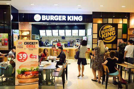 BANGKOK, THAILAND - JUNE 21, 2015: Burger King restaurant interior. Burger King, often abbreviated as BK, is a global chain of hamburger fast food restaurants headquartered in unincorporated Miami-Dade County, Florida, United States.