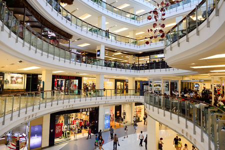 BANGKOK, THAILAND - JUNE 21, 2015: shopping center interior. Shopping malls and department stores such as Siam Paragon, Central World Plaza, Emperium, Gaysorn and Central Chidlom become shopping Mecca for shopaholics